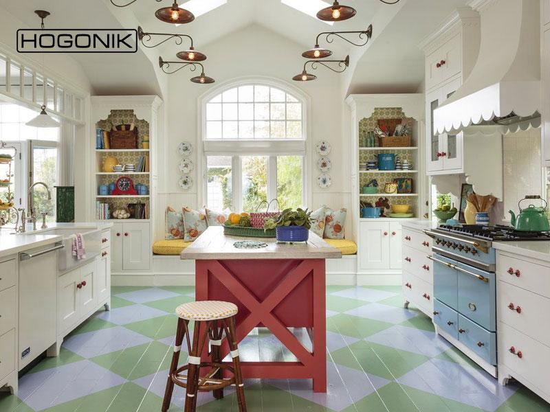 کاشی طرح دار رنگی در آشپزخانه