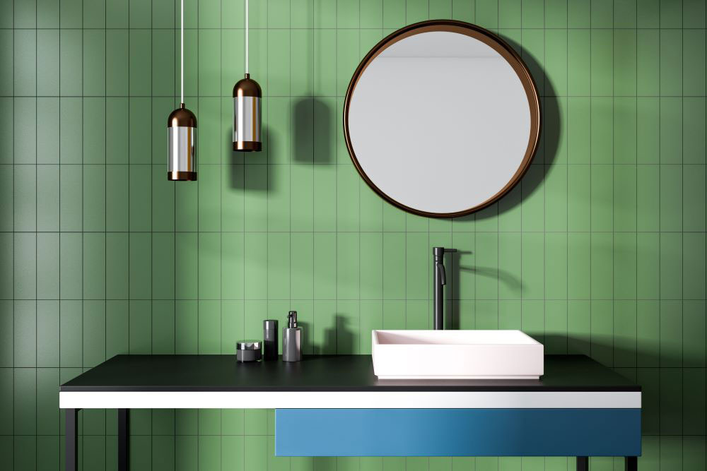 سرویس بهداشتی با کاشی سبز