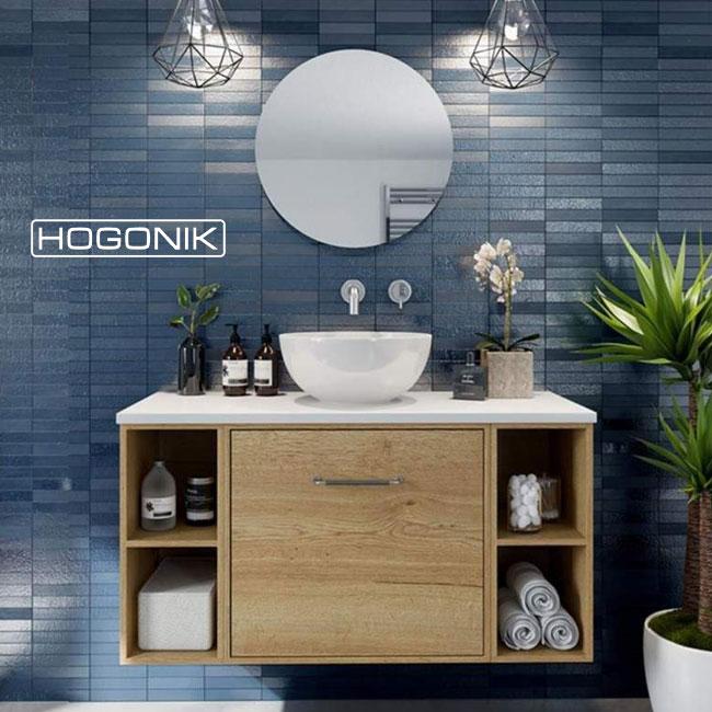 روشویی کابینت دار با آینه گرد