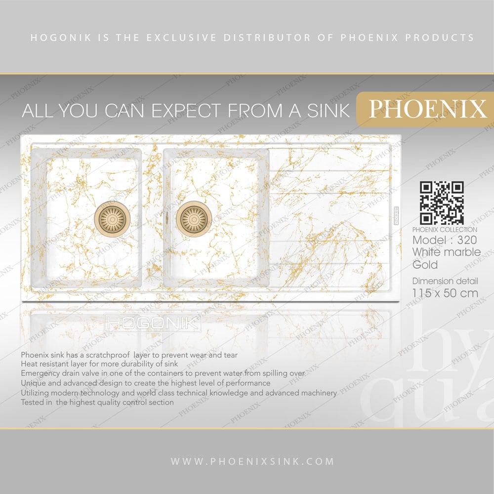 سینک سفید مرمر طلایی فونیکس کد 320