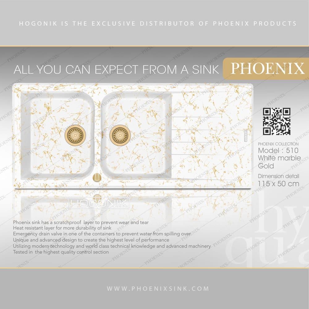 سینک phoenix دو لگنه با رنگ سفید مرمر طلایی