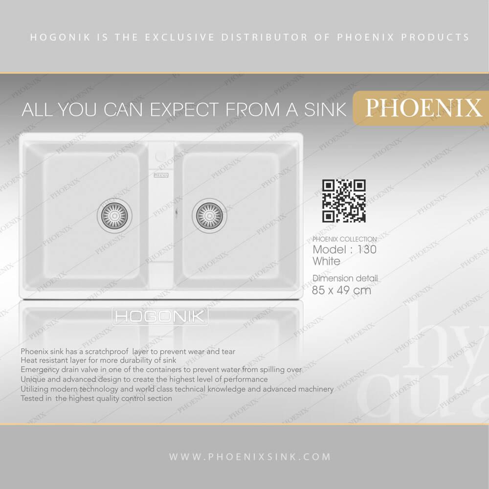سینک PHOENIX دو لگنه بدون سینی رنگ سفید