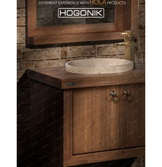 کابینت روشویی طرح چوب، جنس پی وی سی مدل HD7004 برند هلا