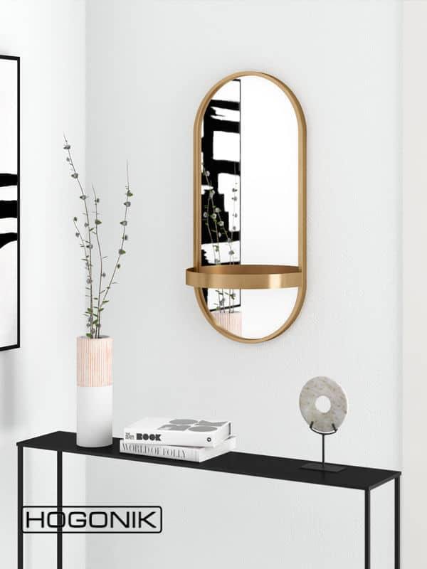 آینه دستشویی خاص با رنگ طلایی به همراه شلف