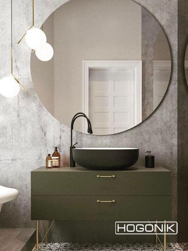 آینه دستشویی دایره ای بدون قاب