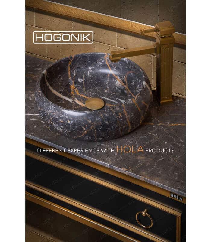 نمای نزدیک مدل h900، تلفیقی از سنگ و pvc، رنگ مشکی طلایی