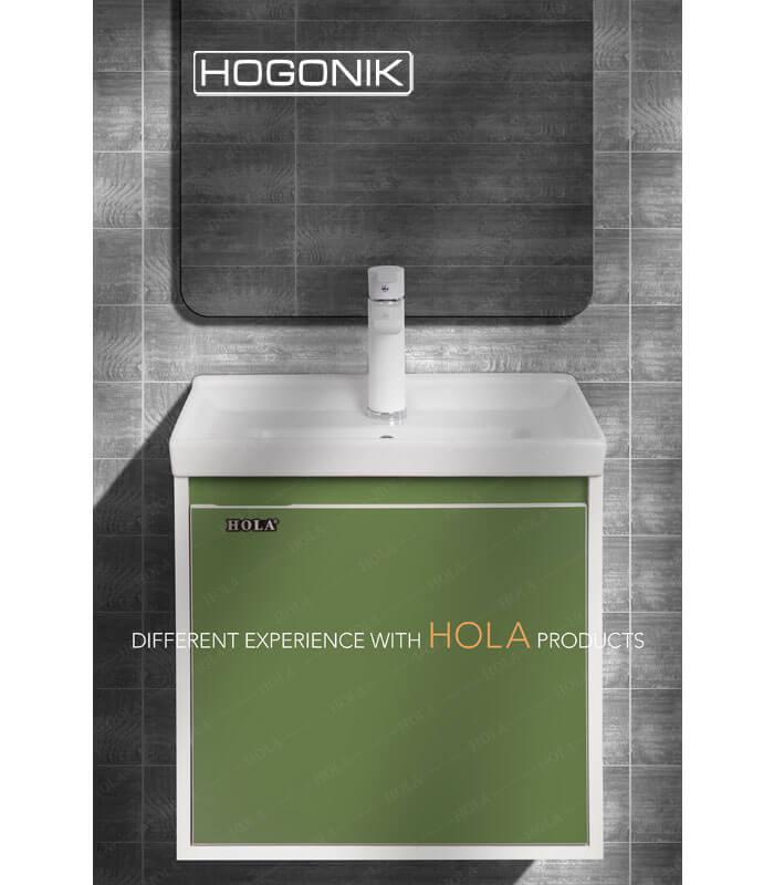 روشویی کابینتی هلا، کد hd5001، رنگ سبز، دیواری