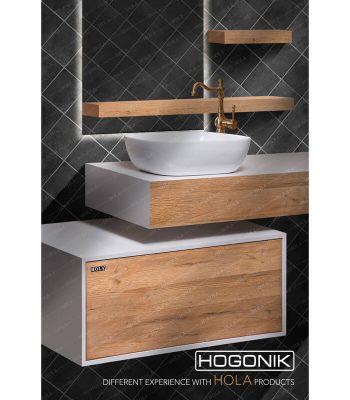 نمای نزدیک روشویی HD1200 ترکیب رنگ سفید و طرح چوب